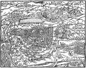Illustration of the battle of Novara in the cronicle of Johannes Stumpf, 1548(Wikipediaより)