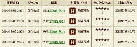 戦国IXA攻略ブログ20140803合成履歴