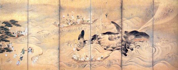 牧田牧陵筆「和歌之浦捕鯨図」